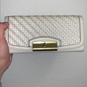 Coach white leather wallet